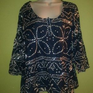 Soft Surroundings Tunic Blouse Sequin Detail Navy